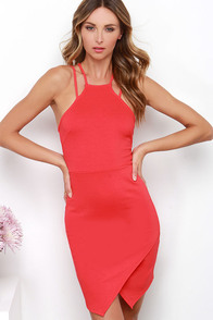 Beat Goes On Coral Red Dress at Lulus.com!