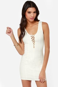 Down and Flirty Cutout Ivory Dress