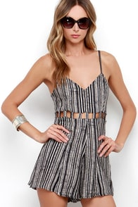 RVCA Easy Peasy Ivory and Black Print Romper at Lulus.com!