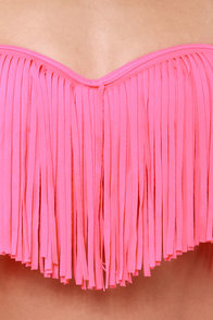 Beachy Keen Hot Pink Fringe Bustier Bikini at Lulus.com!