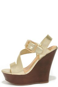 No Glitz, No Glory Gold Wedge Sandals at Lulus.com!