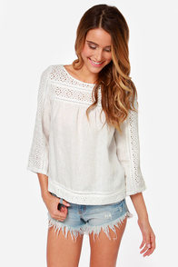 Eyelets Get Together Ivory Lace Top at Lulus.com!