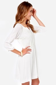 Among the Clouds Embroidered Ivory Dress at Lulus.com!