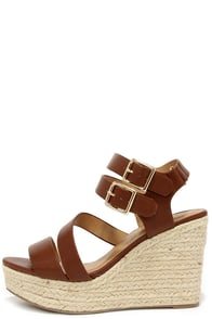 Platform-ation Tan Wedge Sandals at Lulus.com!