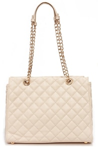 Quilt-y as Charged Light Beige Quilted Handbag at Lulus.com!