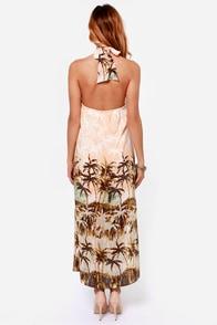 You Da Palm! Peach Print Halter Dress at Lulus.com!