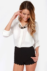 Scallop and At 'Em! Black Shorts at Lulus.com!