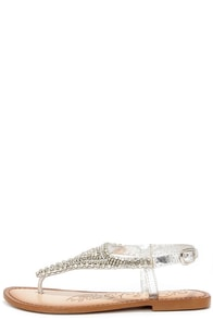 Naughty Monkey Tina Tiara Silver Leather Beaded Thong Sandals at Lulus.com!