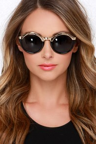 Let's See Here Gold and Black Sunglasses at Lulus.com!