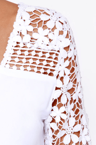 Crochet What? White Crocheted Romper at Lulus.com!