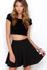 Only Twirl in the World Black Skater Skirt at Lulus.com!