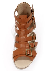 Restricted Deity Camel Buckled Gladiator Sandals at Lulus.com!