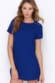 Zipper-ific Royal Blue Shift Dress at Lulus.com!