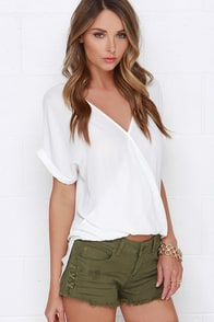 Billabong Lite Hearted Distressed Olive Green Cutoff Shorts at Lulus.com!