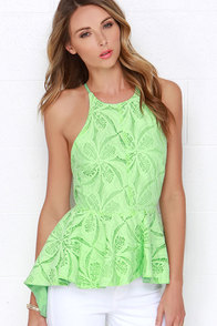 Pleased to Chic You Spring Green Lace Peplum Top