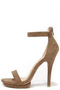 Suede Away Taupe Suede Platform High Heel Sandals at Lulus.com!