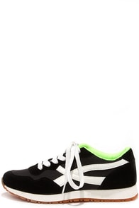 Running Man Black Lace-Up Sneakers at Lulus.com!