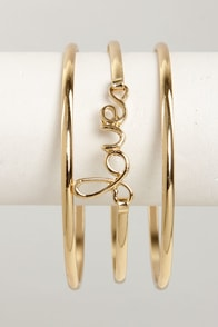 Love Song Gold Bangle Set at Lulus.com!