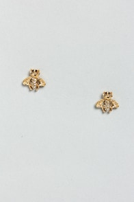 Bee Yourself Gold Rhinestone Earrings at Lulus.com!