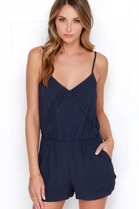 Raging River Navy Blue Lace Romper at Lulus.com!