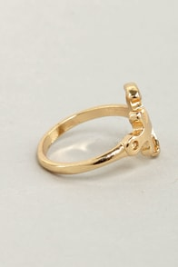 Life Aquatic Gold Anchor Ring at Lulus.com!
