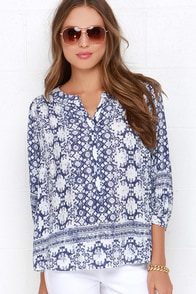 I. Madeline Big Island Navy Blue and Ivory Print Top at Lulus.com!