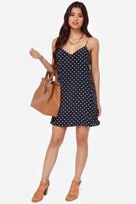 That's the Spot Navy Blue Polka Dot Dress at Lulus.com!