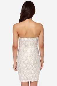 TFNC Halo Strapless Gold and White Lace Dress at Lulus.com!