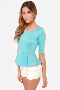 LULUS Exclusive Perk Up Blue Peplum Top at Lulus.com!
