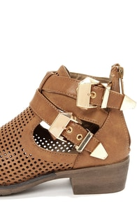 Wanted Stoli Tan Cutout Ankle Boots at Lulus.com!