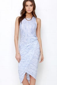 The Rain in Spain Blue and Ivory Marl Knit High-Low Wrap Dress at Lulus.com!