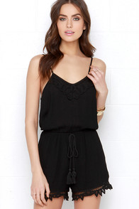 Revolving Shore Black Lace Romper at Lulus.com!