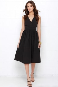 Lovely to Meet You Black Backless Midi Dress at Lulus.com!