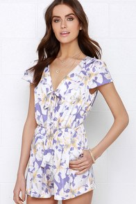 I. Madeline Hum of Things to Come Purple Floral Print Romper at Lulus.com!