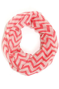 The Wave I Walk Coral Chevron Infinity Scarf at Lulus.com!