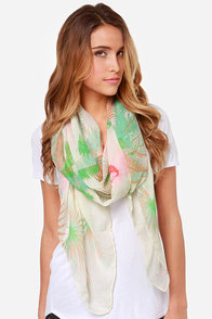 Lei-ing Around Cream Tropical Print Scarf at Lulus.com!