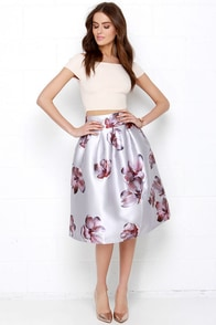 Terrace Perch Silver Floral Print Midi Skirt at Lulus.com!