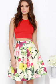 Garden Venture Cream Floral Print Skirt at Lulus.com!