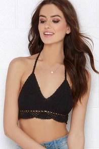 At the Rock Show Black Crochet Halter Crop Top at Lulus.com!