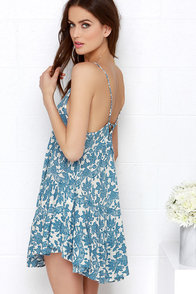 Floral Arrangement Blue Floral Print Dress at Lulus.com!
