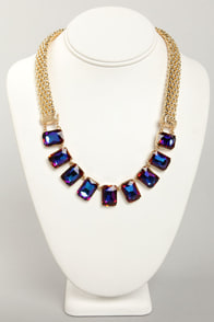 Prismatic Parade Purple Rhinestone Necklace