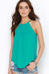 Atlantis Is It Teal Green Halter Top at Lulus.com!