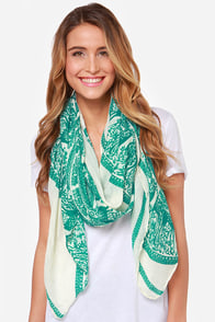 Near and Deer Green Print Scarf at Lulus.com!