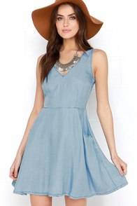 Neighborhood Crush Blue Chambray Dress at Lulus.com!