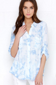 Cloud Gazer Light Blue and Ivory Tie-Dye Button-Up Top at Lulus.com!