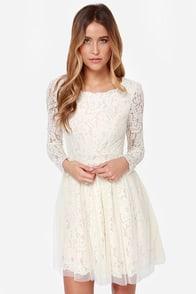 Be-Gauze I Love You Cream Lace Dress at Lulus.com!