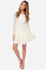 Be-Gauze I Love You Cream Lace Dress at Lulus.com!