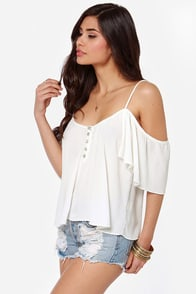 Ebb and Flow Off-the-Shoulder Ivory Top at Lulus.com!