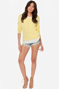 Mink Pink I Walk the Line Yellow Sweater at Lulus.com!