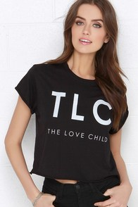 Laundry Room The Love Child Black Crop Tee at Lulus.com!